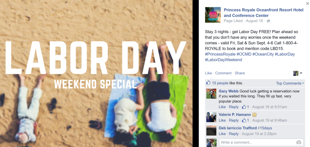 Hotel Promotions for Holidays on Facebook