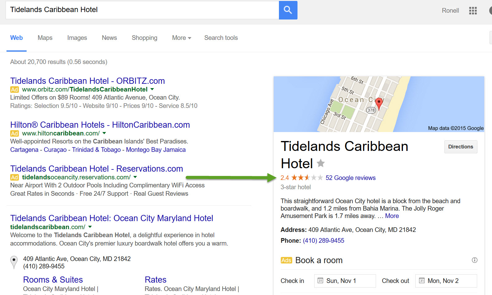 Hotels with Bad Google Places Reviews