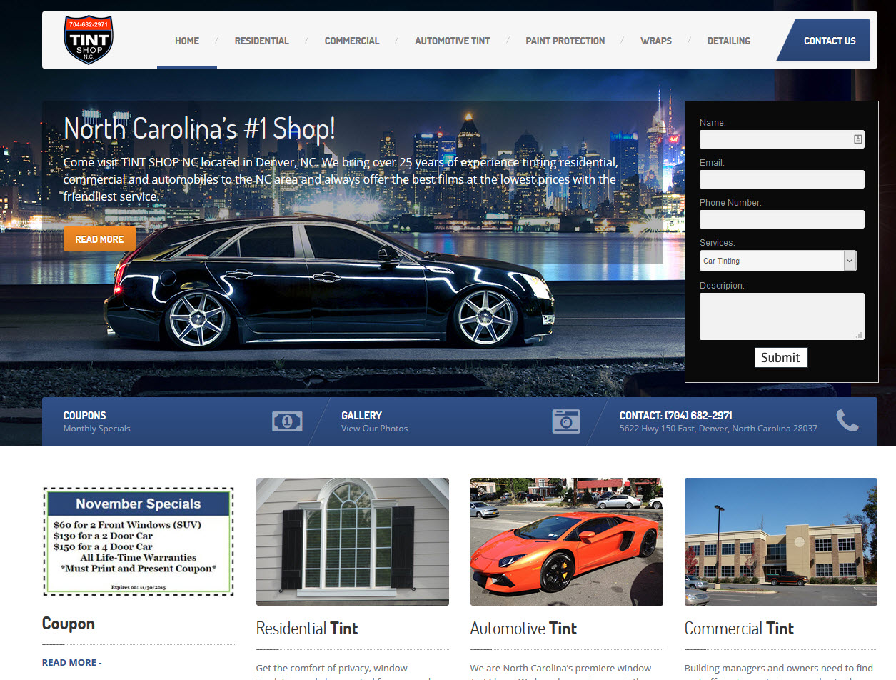 Tint Shop Website Redesign