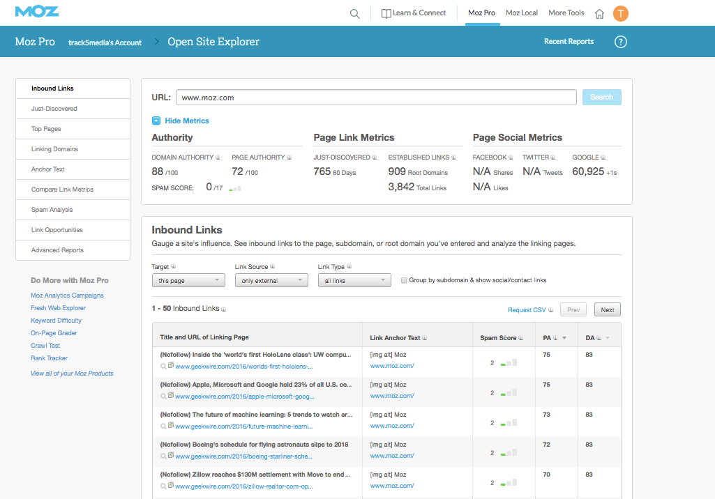 moz open site explorer screenshot