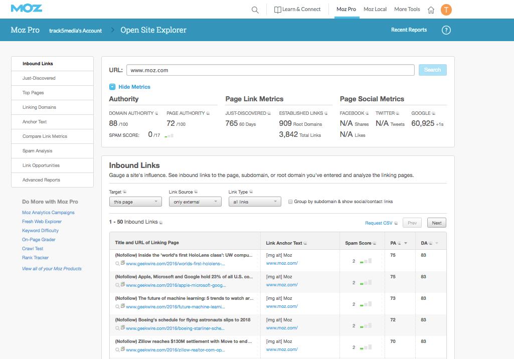 moz open site explorer screenshot
